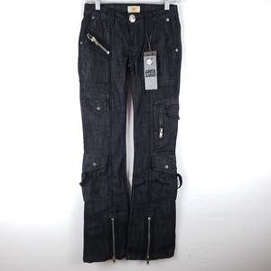 NWT Antik Black Zipper Pocket Jeans Size 23